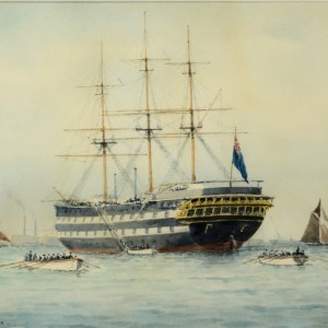 ERIC TUFNELL-WATERCOLOUR-HMS WORCESTER GREENHITHE