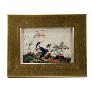 ANTIQUE SET OF 10 CHINESE WATERCOLOUR PAINTINGS OF BIRDS