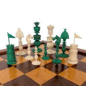 ANTIQUE VIZAGAPATAM GREEN & WHITE IVORY CHESS SET
