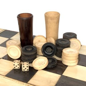 ANTIQUE INDIAN IVORY FOLDING CHESS & BACKGAMMON BOARD