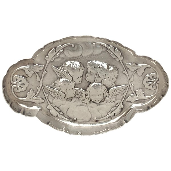 ANTIQUE SILVER CHERUB PIN TRAY BY WILLIAM COMYNS