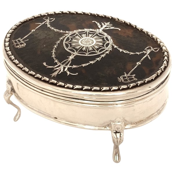 ANTIQUE WILLIAM COMYNS SILVER & TORTOISESHELL JEWELLRY BOX