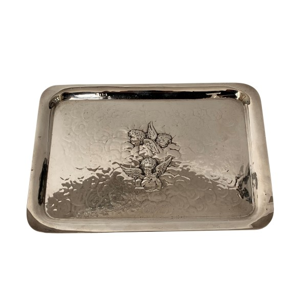LARGE ANTIQUE SILVER TRAY WITH CHERUBS