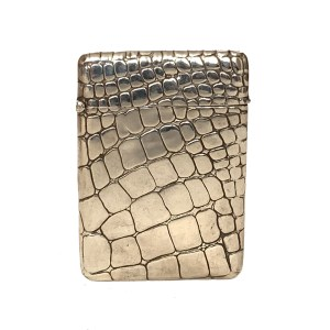 "ANTIQUE SILVER ""CROCODILE SKIN"" CARD CASE"