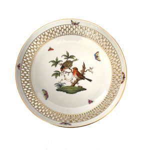 ANTIQUE HEREND PORCELAIN ROTHSCHILD BIRD DISH