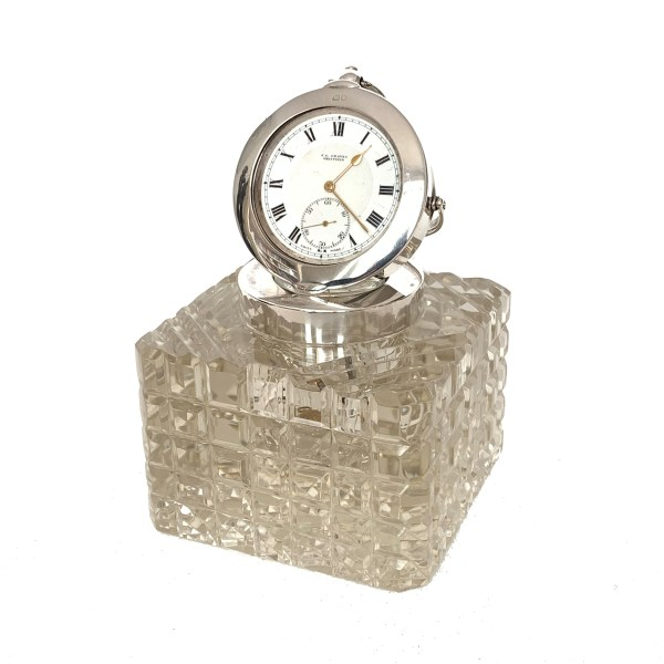 ANTIQUE SILVER & GLASS CLOCK INKWELL BY J C VICKERY