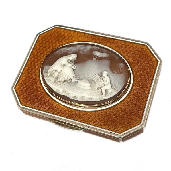 FIND ANTIQUE SNUFF BOX SILVER ENAMEL CAMEO FOR SALE IN UK
