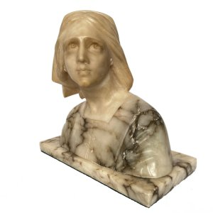 FIND ANTIQUE ALABASTER BUST JOAN OF ARC CHAPU FOR SALE