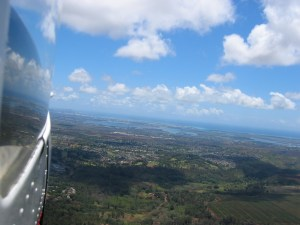 Flying toward Hickam Field and Pearl Harbor