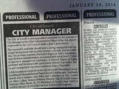 City Manager Boston Globe ad