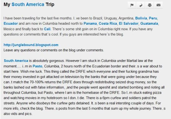 Blog on Colombia