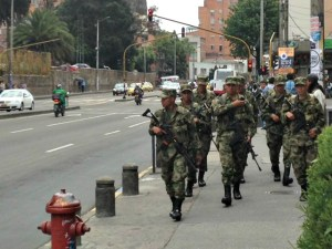 Even the mornally sedate barrio of Chapinero was militarized