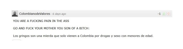 "A nice comment on the last blog by a gentleman named ""Colombiano de Valores"""