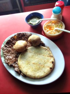 Meat, potatoes and arepa
