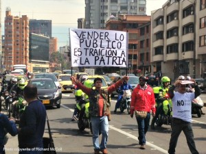 Colombians protesting the sale of Isagen in Bogota