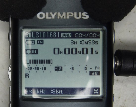Olympus showing the test input from the Farnell, at max gain