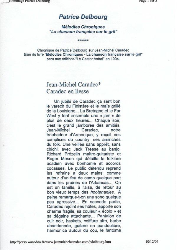 Mélodies chroniques de Patrice Delbourg 1994