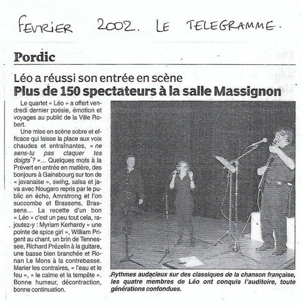 Léo a réussi son entrée en scène - Le Télégramme - Février 2002