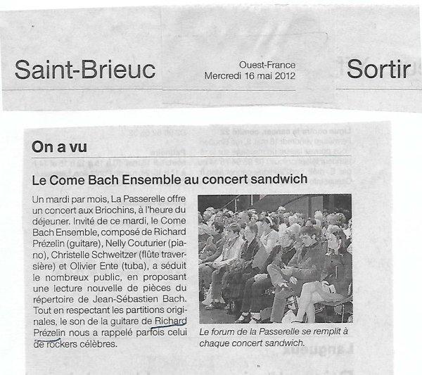 Le Come Bach Ensemble - Ouest-France - Saint-Brieuc - le 16 mai 2012