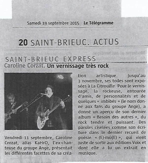 Caroline Crozat : un vernissage très rock - Le Télégramme - Septembre 2015
