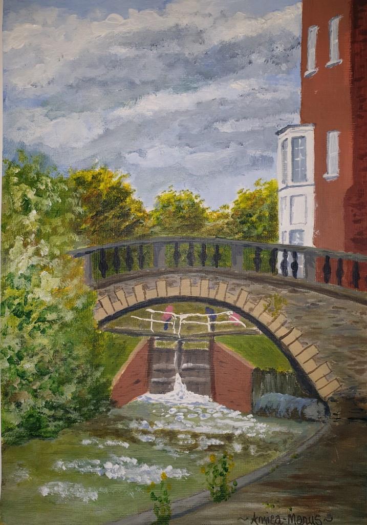 Newbury canal bridge and Lock using acrylic paint on paper