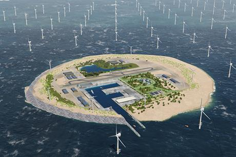 Tennet's idea for an artificial island to support offshore wind farms and act as a hub for the European power grid