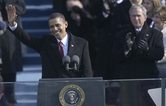 Obama prepared to give inaugural address (Christopher Morris/Time)