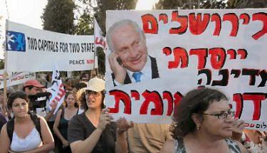 "Peace Now anti-Bibi banner: ""In Jerusalem, I established a bi-national state!"""
