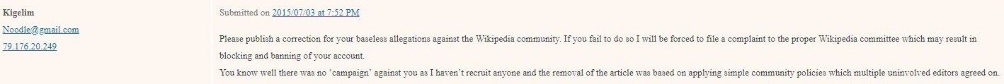 wikipedia stalking and threats