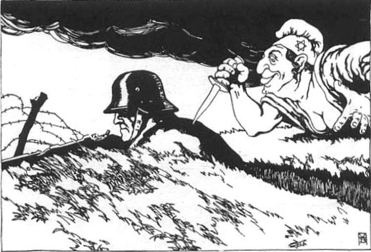 WWI anti Semitic knife in the back cartoon