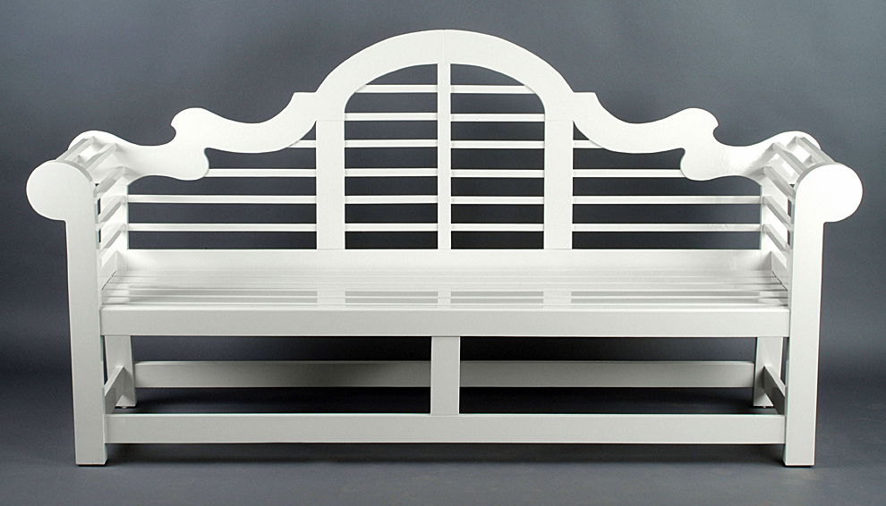 Outdoor Garden Benches In Painted Mahogany Or Teak
