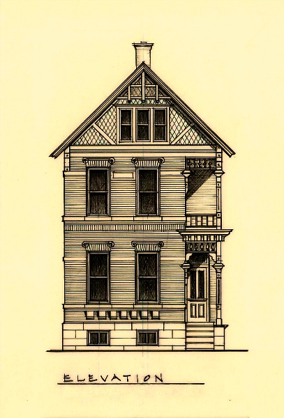 1890 Victorian Elevation -Brewer's Hill Richard Toyne Architect