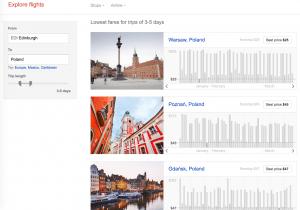 Google Flights Explore example