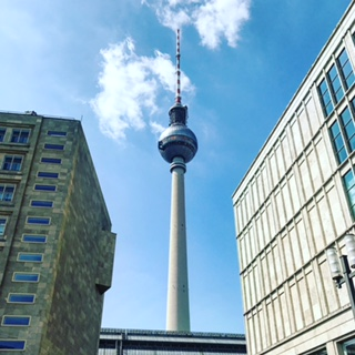 Icon of Berlin, the Fernsehturm, seen from Alexanderplatz