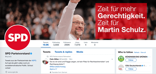 Twitter feed of the German SPD