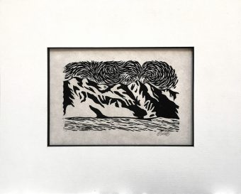 """Desert Winds"" 3x5"" Linoleum Block Print"