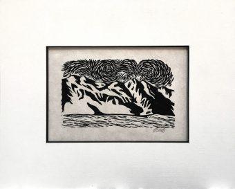 """Desert Winds"" 3x5"" Linoleum Block Print"