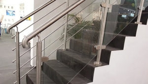 Tubular Hardware For Glass Railing Handrail And Footrail In   Glass And Chrome Banisters   Designer   Wooden Glass   Frosted Glass   Oak   Contemporary