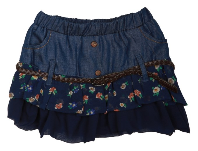 Denim Skirt with Chiffon Skirt