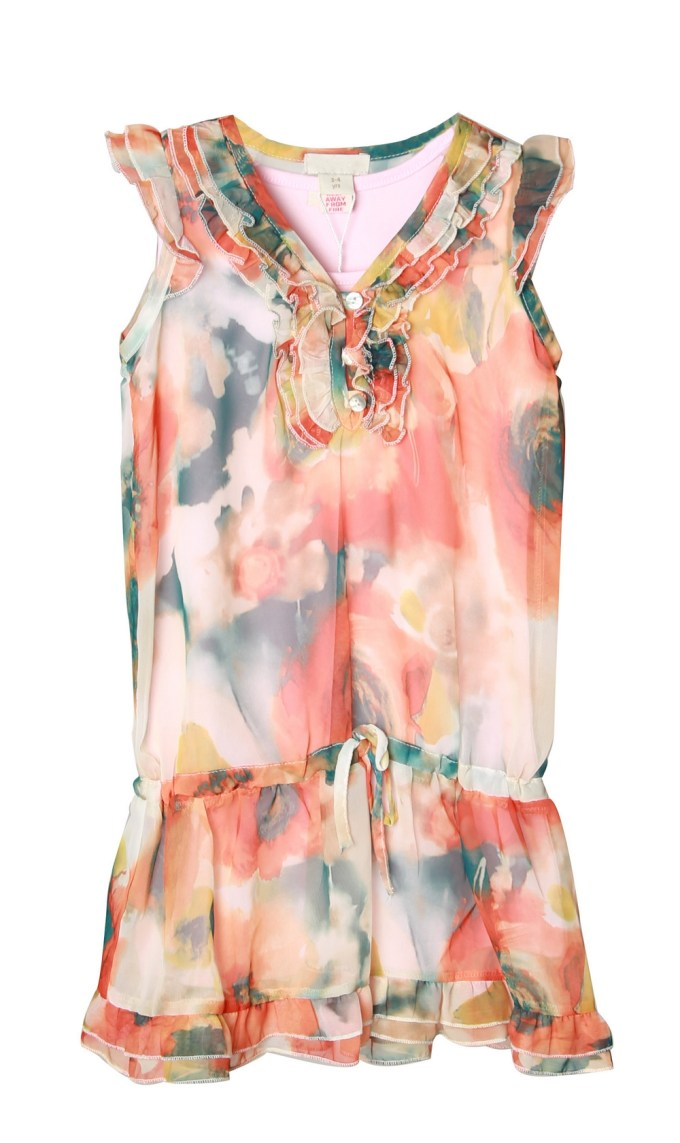 Warm-Tone Floral Dress with Sky Print