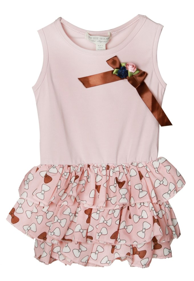 Dress with Bow Print Skirt and Bow Accent