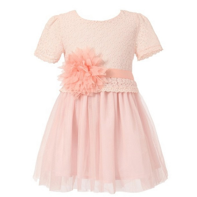 Dress with Tulle Skirt and Flower Accent