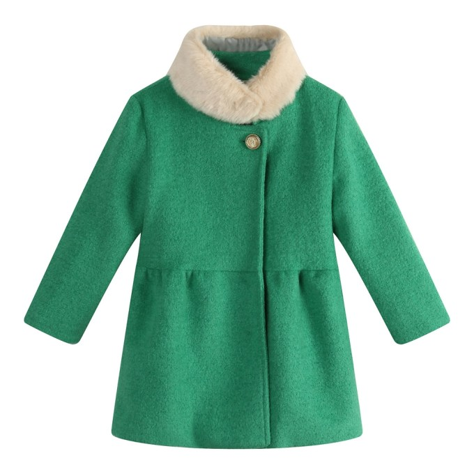 Woven Jacket with Fake Fur Collar