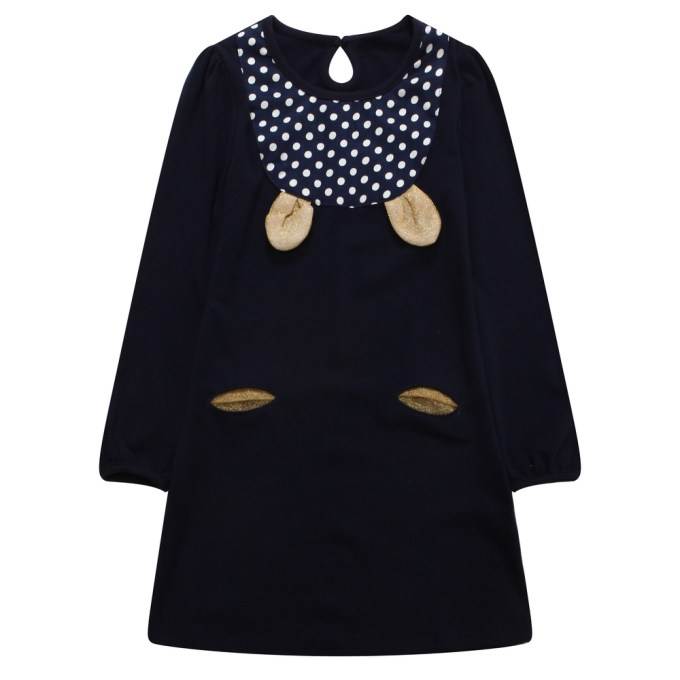Long Sleeve Knit Dress with Golden Ears