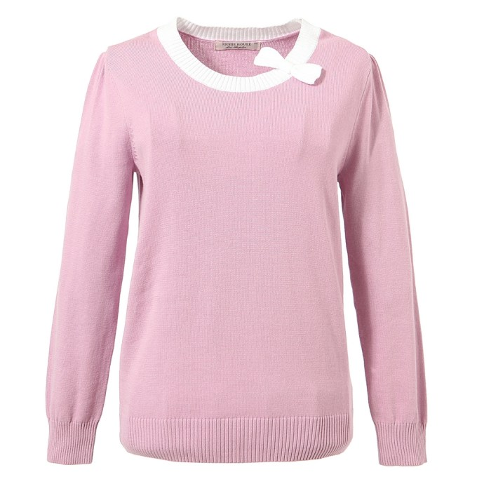 Solid Pullover Sweater with Bow at Neckline