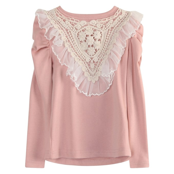 Warm T-shirt with Lace and Tulle in Front