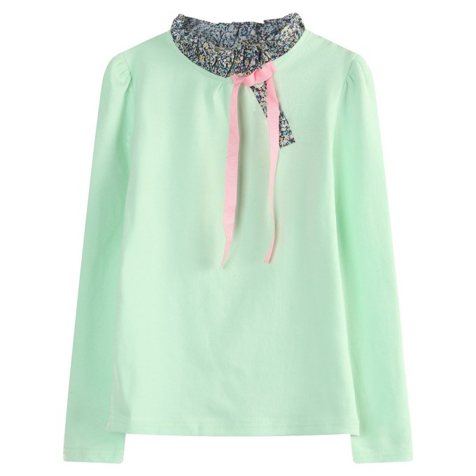 Long Sleeve Pullover with Floral Collar