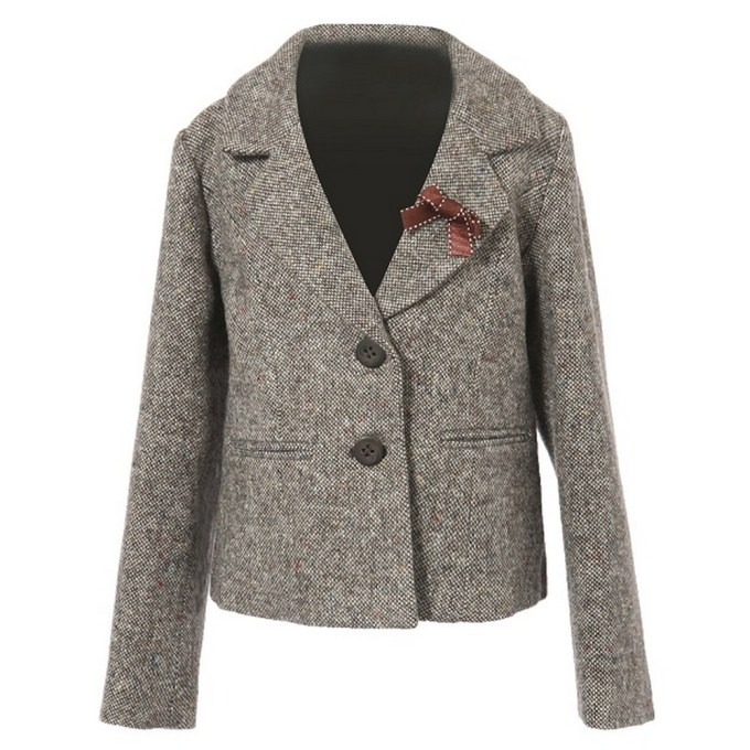 Wool Leisure Mini Suit with Bow
