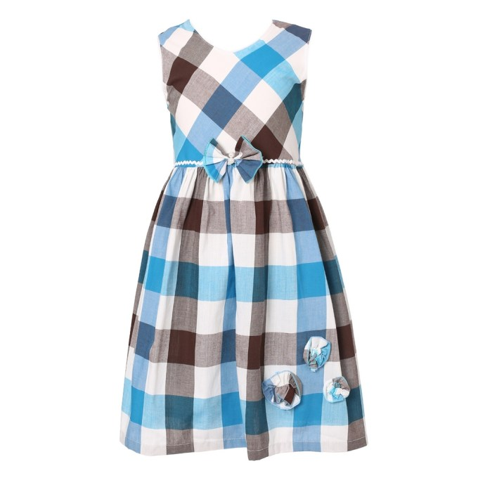 Plaid Sundress with Flower Accents
