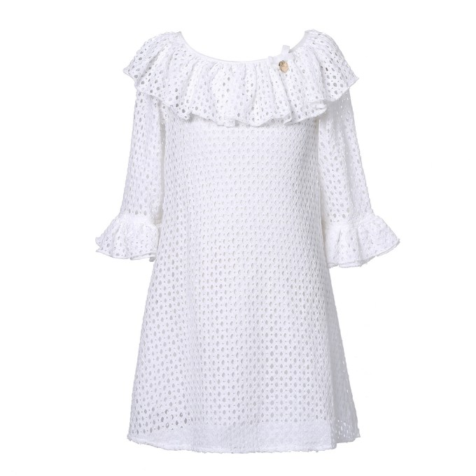 Lace Dress with Ruffled Sleeve